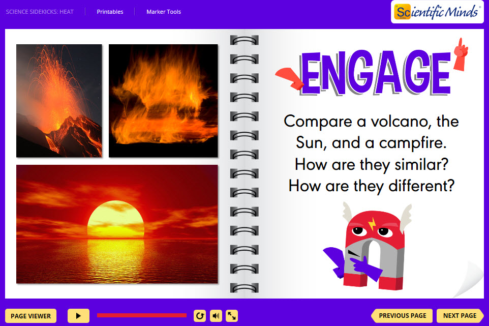 Writing prompt- compare a volcano, the sun, and a campfire.
